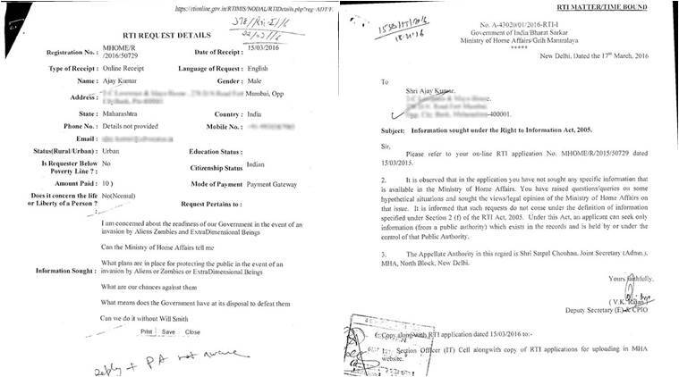 Mumbai guy files a query under RTI asking if the government is ready to face alien invasion