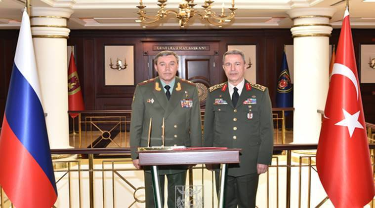 turkey, russia, turkey-russia, Turkey's Chief of Staff Gen. Hulusi Akar, Russian chief of staff Gen. Valery Gerasimov, ankara talks, turkey russia talk ankara, russia turkey military leaders talk ankara, world news, indian express