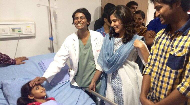 Samantha at a hospital in Hyderabad. (Source: Twitter)