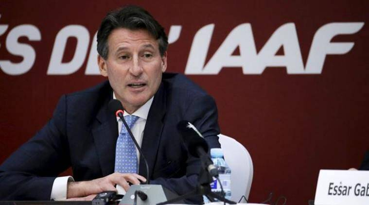 Newly elected President of International Association of Athletics Federations Coe speaks at a news conference in Beijing