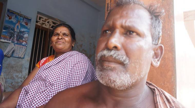 Sundari, who served the maximum time in jail among women protesters, at home with her husband