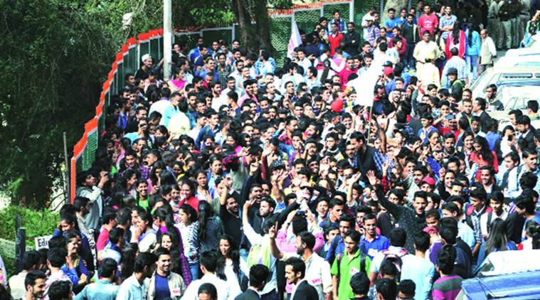 SFI members take out a 'victory rally' in Shimla.  Express Photo by Lalit Kumar
