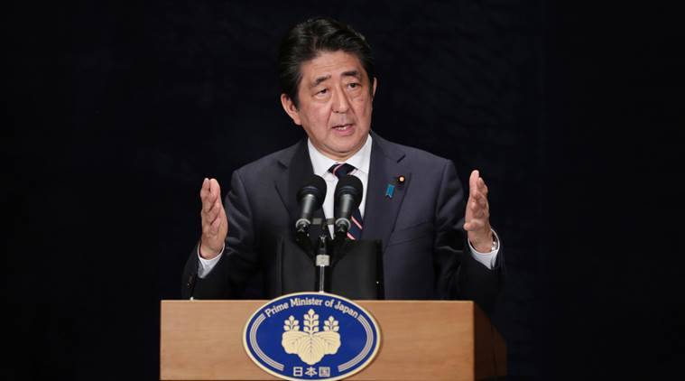 In this photo released by China's Xinhua News Agency, Japanese Prime Minister Shinzo Abe speaks during a press conference after the conclusion of the G-20 Summit in Hangzhou in eastern China's Zhejiang Province, Monday, Sept. 5, 2016. (Cai Yang/Xinhua via AP)