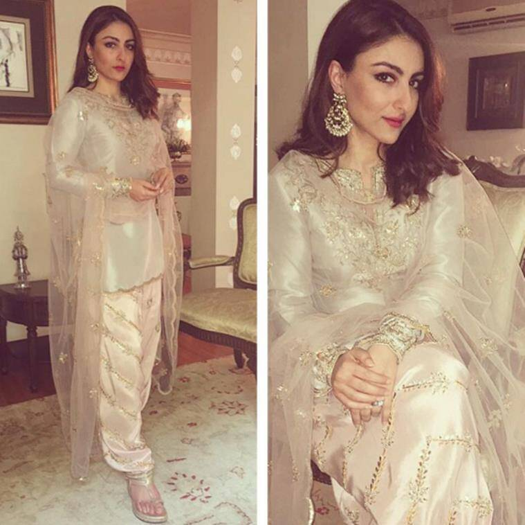Soha Ali Khan chose a white ensemble with golden embroidery all over it. (Source: Instagram/sakpataudi)