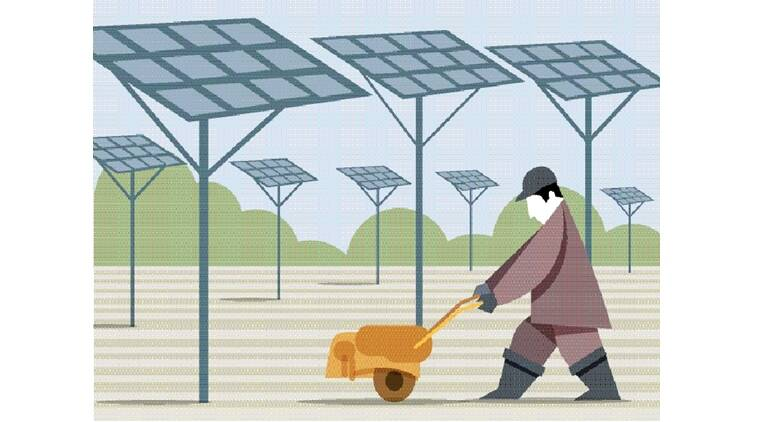 agriculture, farmers, solar panels, solar panels in villages, narendra modi government, solar power generation, solar power, solar energy, farmers income, solar energy, FIT-based power, indian express news, farmer income, india news