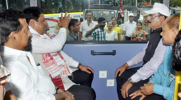 Guwahati: Assam Chief Minister Sarbananda Sonowal at the flag off ceremony of the JNNURAM-II Air Conditioned Bus Service under Assam State Urban Transport Corporation in Guwahati on Sunday. PTI Photo  (PTI9_4_2016_000178B)