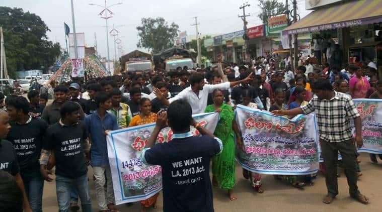 telangana, telangana village, telangana goverment, medak district, medak district village, medak land acquisition, medak protests, telangana village protests, india news, indian express