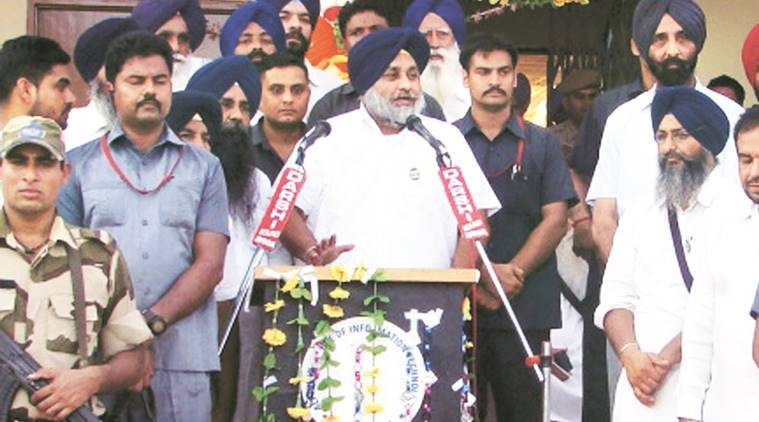 sukhbir singh badal, jarnail singh bhindranwale, rode in moga district, punjab smart village project, india news, indian express, punjab elections 2017,