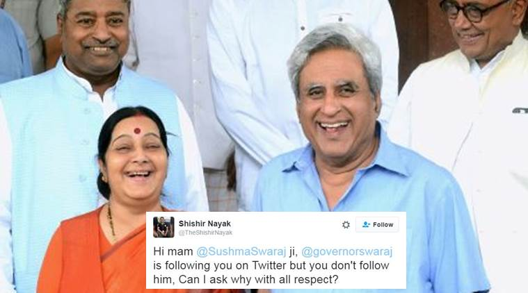 This is what Swaraj Kaushal responded to the man who asked why Sushma Swaraj doesn't follow him on Twitter while he does