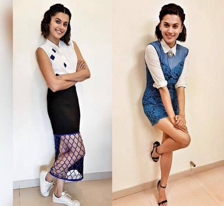 Taapsee Pannu in separates by 431-88 by Shweta Kapur (L) and a a Sandro romper. (Source: Instagram/Taapsee Pannu)