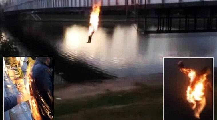 teens set themselves on fire and jumped intowaters, video teens set themselves on fire, facebook video teens set themselves on fire, viral videos, viral videos today, russian teens set themselves on fire for fame, indian express, indian express news