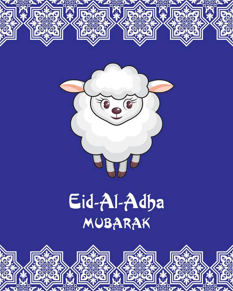Eid mubarak 20 whatsapp sms facebook greetings to wish your eid al adha greeting card with the image of the sacrificial lamb m4hsunfo