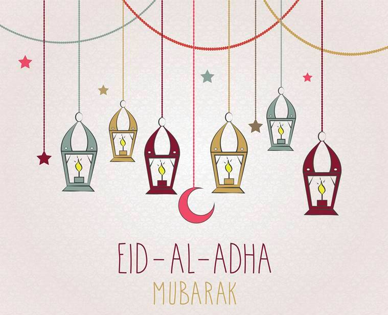 Eid mubarak 20 whatsapp sms facebook greetings to wish your eid al adha mubarak hand drawn poster hanging colorful lantern vector illustration all m4hsunfo