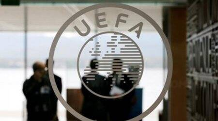 A logo is pictured on UEFA headquarters in Nyon