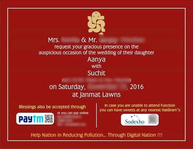 This wedding card with Paytm, Sodexo options is the most practical ...