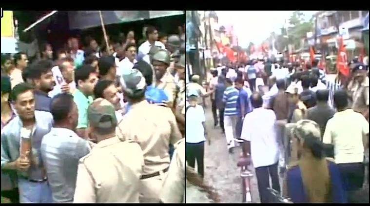 Visuals of clash between CPM and TMC workers during Trade Union Strike in Madhyamgram. (Source: ANI photo)