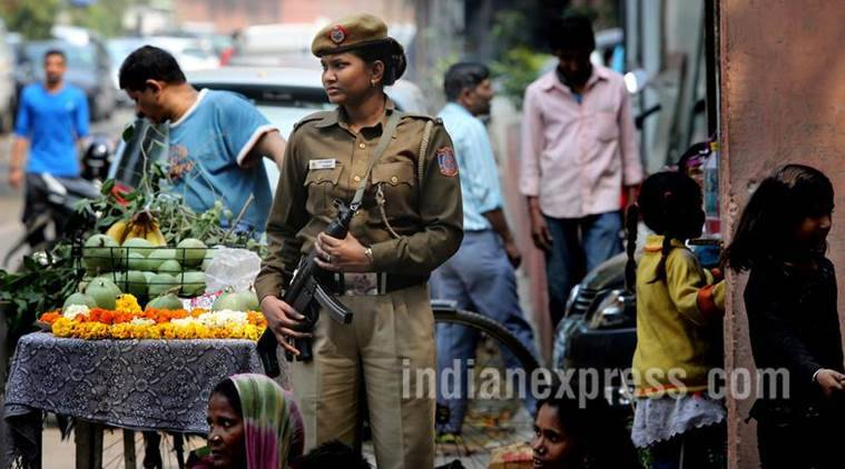 Lady Police, Jyoti in working in Delhi Police. She is posted in Barakhambha Police station and performing her duty in Bangali Market area. EXPRESS PHOTO BY PRAVEEN KHANNA 07 03 2016.