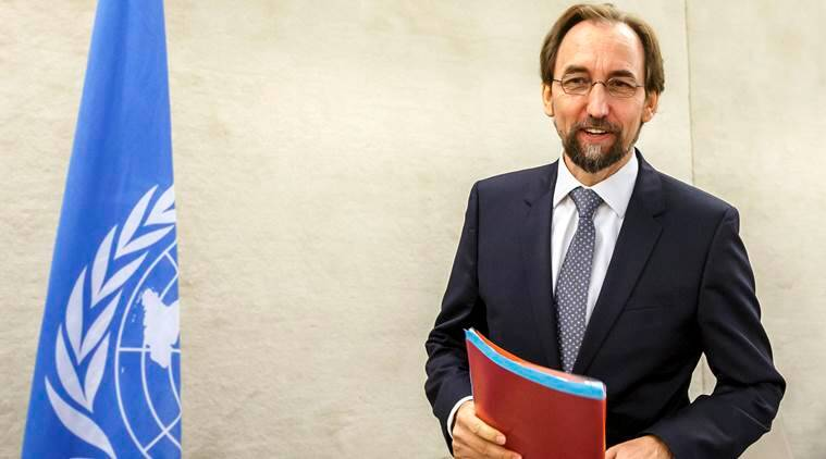 UN High Commissioner for Human Rights Zeid Ra'ad Al Hussein, of Jordan, arrives for the opening of the 33rd session of the Human Rights Council, at the European headquarters of the United Nations in Geneva, Switzerland, Tuesday, Sept. 13, 2016. (Salvatore Di Nolfi/Keystone via AP)