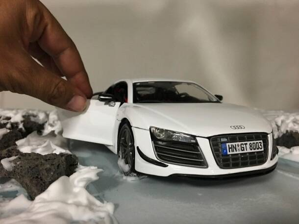 Audi, audi r8 photos, Felix Hernandez photos, Felix Hernandez small model photos, toy car audi a8 photoshoot, Felix Hernandez Dreamphography, Felix Hernandez, Felix Hernandez photos, trending photos, viral photos, indian express