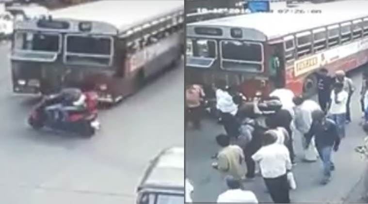 mumbai accident, cctv footage mumbai accident, mumbai khairani road accident, best bus accident, mumbai bus accident, mumbai bus hits bike, mumbai news, indian news, indian express news