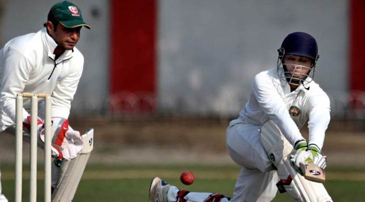 Aditya Waghmode of Baroda plays a shot, during the at the Ranji trophy match against