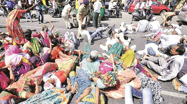 ahmedabad land, dalits block road, dalits block road ahemdabad, india news, indian express,