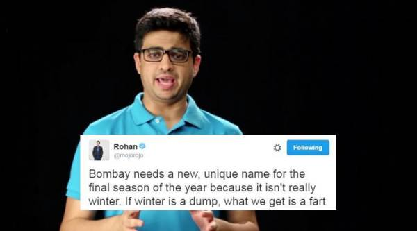 Comedian Rohan Joshi asked Mumbaikars for a new name for Mumbai winters (Source: YouTube)