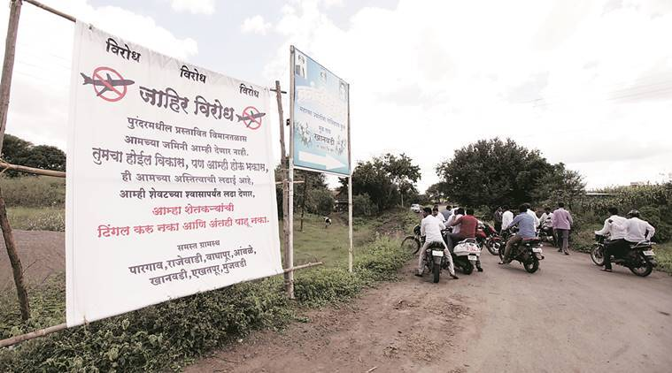 khed villages, purandar villagers, khed village airport, pune news, indian express,