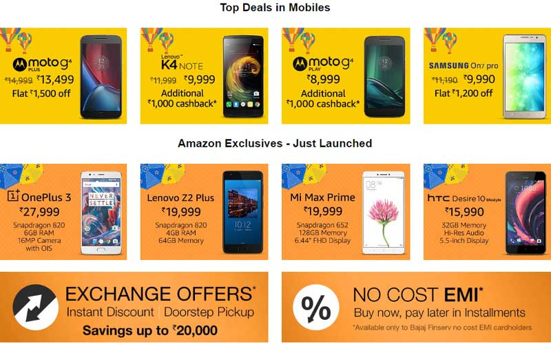 Amazon Great Indian sale, Amazon Sale, Moto G4 Plus Amazon off, OnePlus 3 Amazon discount, Amazon Great Indian sale Smartphone discount, Amazon Sale Smartphone, Amazon Sale mobiles off, Samsung On 7 Pro discount, On 5 Pro off
