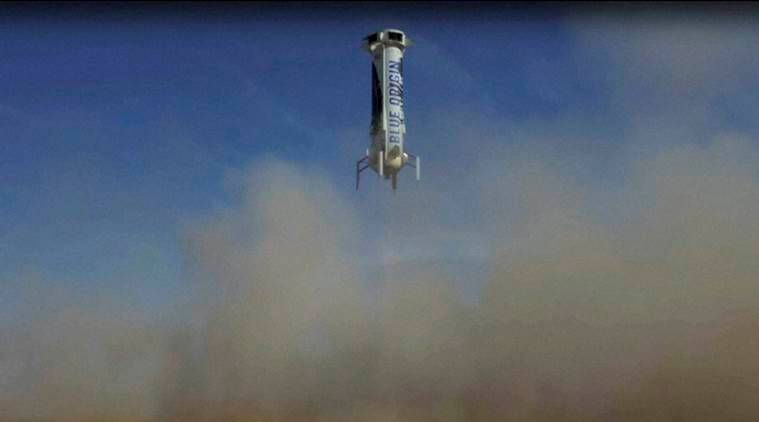 Blue origin, escape system, rocket, escape system tested, escape system test, successfully tested, space capsule, New Shepard, amazon CEO, Jeff Bezos, technology, science news, indian express