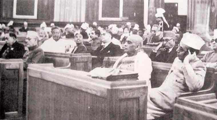 Members of the Constituent Assembly at its first meeting in Constitution Hall, now known as Central Hall, of Parliament, on December 9, 1946. Sardar Vallabhbhai Patel is in the middle, to his left is B G Kher, the Premier of Bombay state, and behind (and in between) them is lawyer and scholar-educationist K M Munshi, the founder of Bharatiya Vidya Bhavan. The Constituent Assembly took 2 years, 11 months and 17 days to complete its historic task of drafting the Constitution. During this period, it held 11 sessions over 165 days, 114 of which were spent on the consideration of the Draft Constitution. Source: Parliament of India, Picture credit: Wikipedia/Public Domain