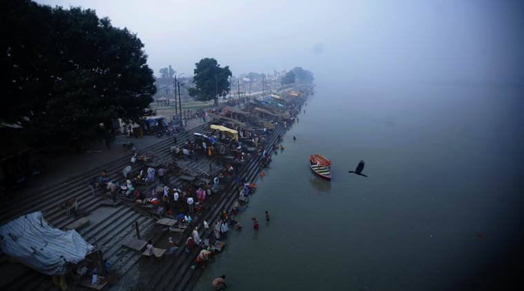 New Ghat in Ayodhya on the bank of the river Saryu. (Source: Express Photo by Praveen Khanna)
