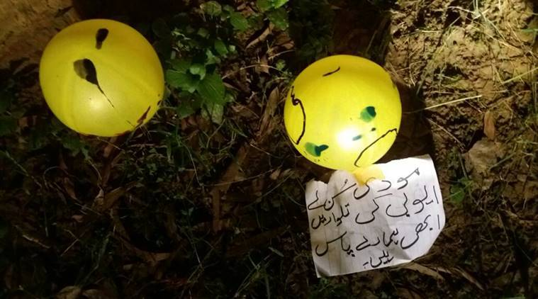 India claims to receive balloons with abuses