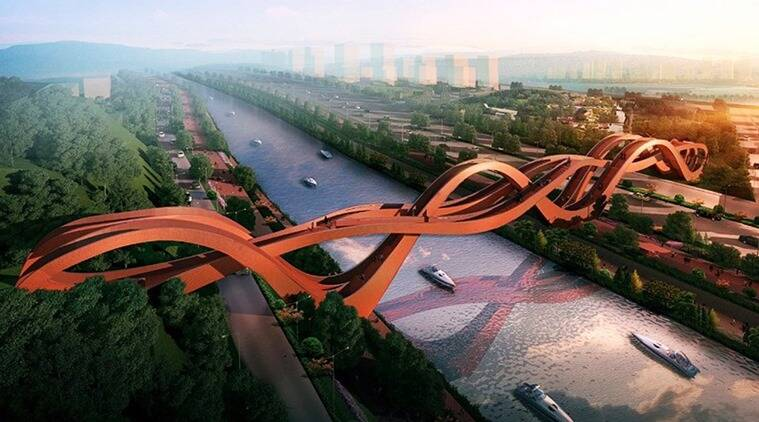 china lucky knot bridge, lucky knot bridge, china waves bridge, china wavy bridge, china unusual bridge, china's popular bridges, beautiful architecture in the world, beautiful bridges, indian express, indian express news