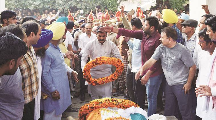 bsf jawan cremated, bsf jawan cremated haryana, indian express,