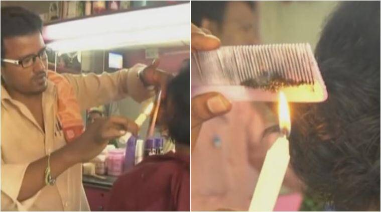 candle haircut, haircut with candle, Velaterapia, barber candle haircut, hair styling, unique hair cutting technique, viral video, fashion news, latest news, indian express