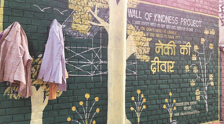 "The boundary wall of Carmel Convent School in Sector 9, Chandigarh, painted as ""Wall of Kindness Project"". Express"