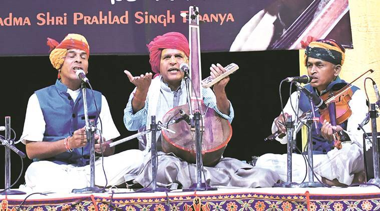 Prahlad Singh Tipanya performs at Tagore Theatre in Chandigarh Saturday. Express