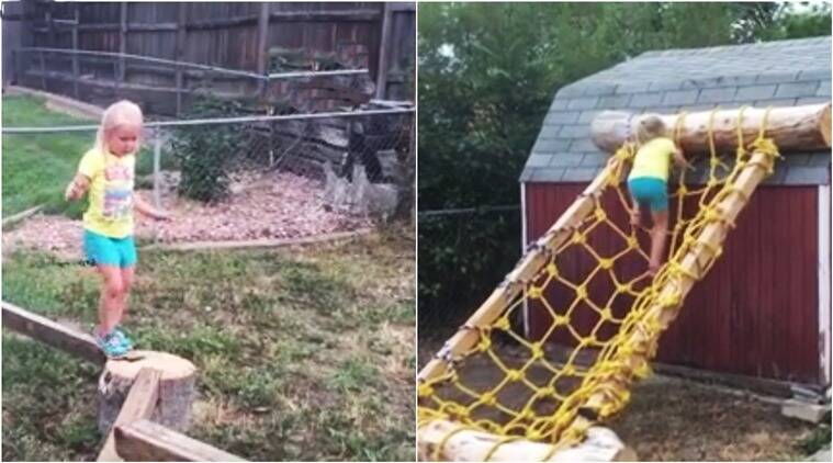 father makes american ninja warrior course for daughter, american ninja warrior in backyard, american ninja warrior, obstacle race in backyard, indian express, indian express news