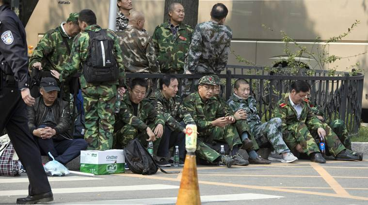 China, Chinese veterans, Chinese soldiers, Chinese veterans protest, poor pensions for Chinese veterans, China news, world news, latest news, Indian express