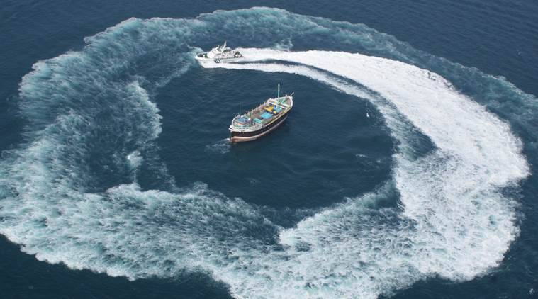 Pakistani boat, gujarat, coast guard, news, india news, indian express news