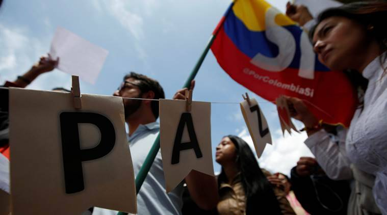 colombia, peace march, peace deal protest, colombia protest, against peace deal, demonstrations,Yes campaign,  NO campaign, colombia no campaign, santos, juan santos, government rebels deal, FARC, world news, indian express