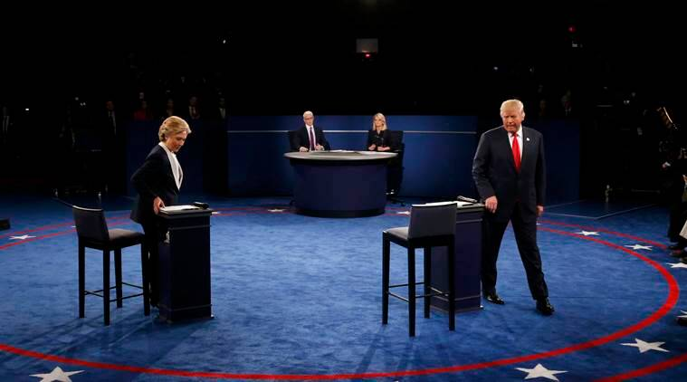 second presidential debate, second presidential debate tweets, presidential debate most tweeted, hillary clinton vs donald trump, us elections 2016, us elections, hillary clinton donald trump handshake, world news, indian express,