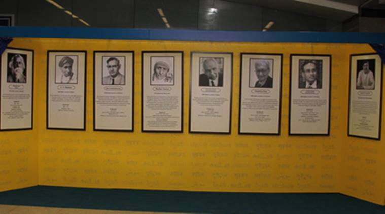delhi metro, delhi metro rajiv chowk, nobel memorial delhi metro, rajiv chowk nobel memorial wall. india news, indian express,