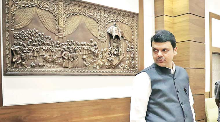 CM Devendra Fadnavis at his residence in Malabar Hills on Monday. (Express Photo by Nirmal Harindran)