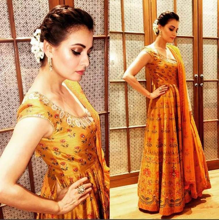 Dia Mirza in Anita Dongre. (Source: Instagram/Dia Mirza)