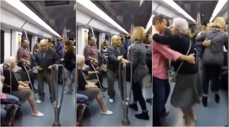 dancing, elderly couple, dancing in mertro, couple dancing in metro, elderly couple dancing in train, elderly couple dancing video, viral video, trending video, latest news, indian express