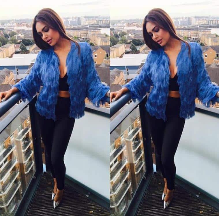 Esha Gupta in H&M and a gorgeous jacket by Drama Queen. (Source: Instagram/Esha Gupta)