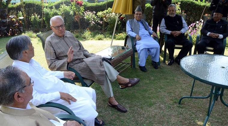Farooq Abdullah, Kashmir unrest, Kashmir valley, Farooq Abdullah, Farooq Abdullah meeting, all party meeting, jammu and kashmir, J&K, Burhan wani aftermath, Kashmir issue, Kashmir situation, Kashmir unrest, unrest in kashmir, India news, indian express news, kashmir news