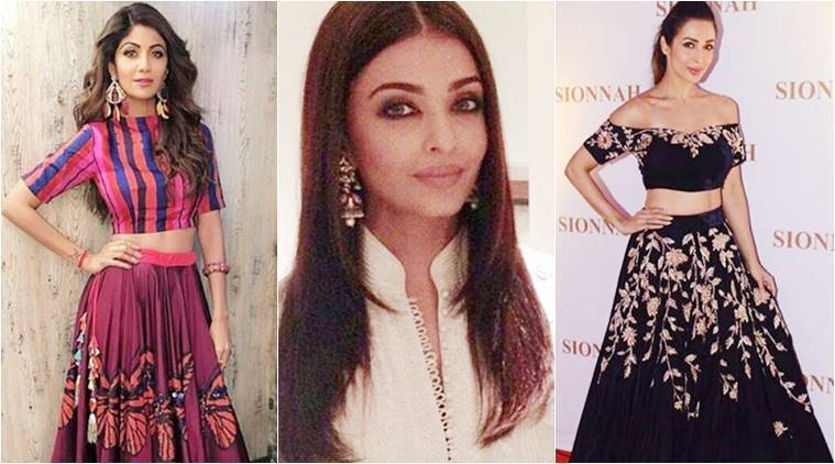 navratri, navratri fashion, aishwarya rai bachchan, shilpa shetty, malaika arora, karishma tanna, bollywood celebrity fashion, bollywood fashion, bollywood style, indian express news, indian express